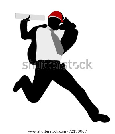 businessman with hardhat jumps