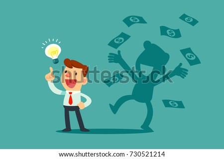 Businessman with idea bulb and his successful shadow get a lot of money. Business creativity concept.