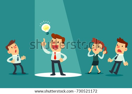 businessman with idea bulb in