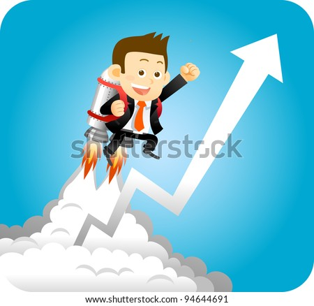 Businessman with launching rocket and growing arrow