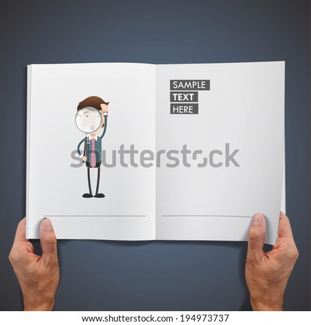 Businessman with loupe printed on book over blue background