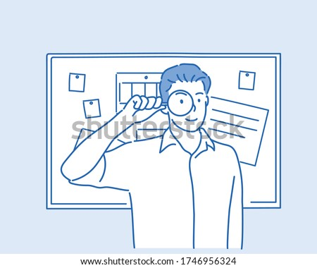 Businessman with magnifying glass. Hand drawn style vector design illustrations. Stock foto ©