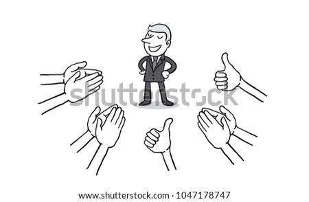 businessman with many Hands clapping ovation and thumps up on white background. applaud hands. isolated vector illustration outline hand drawn doodle line art cartoon design character.
