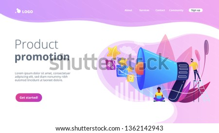 Businessman with megaphone promote media icons. Sales promotion and marketing, pomotion strategy, promotional products concept on white background. Website vibrant violet landing web page template.