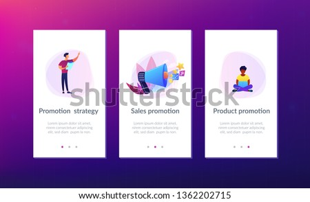 Businessman with megaphone promote media icons. Sales promotion and marketing, pomotion strategy, promotional products concept on white background. Mobile UI UX GUI template, app interface wireframe