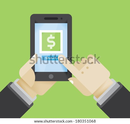 Businessman with mobile phone sharing money.