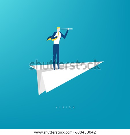 Businessman with monocular on a paper boat as a symbol of business leadership. concept of vision, mission or ambitions.