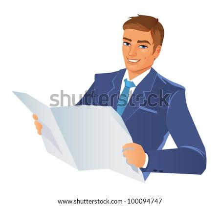 Businessman with newspaper.