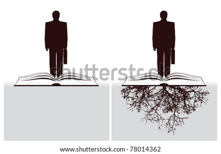 businessman with open book and roots