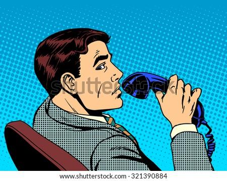 businessman with phone pop art