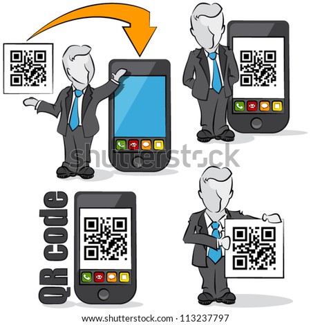 Businessman with QR code for mobile devices. 4 cartoons