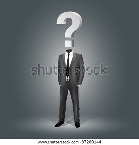 Businessman with Question Mark Head (EPS10)