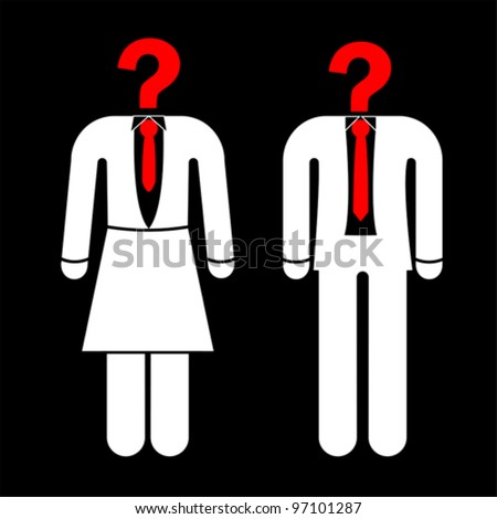 businessman with question mark head, vector