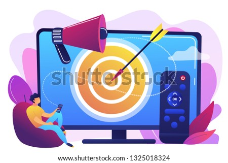 Businessman with remote control watching targeted TV ads. Addressable TV advertising, new advertising technology, targeting TV marketing concept. Bright vibrant violet vector isolated illustration