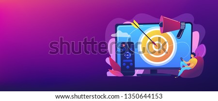 Businessman with remote control watching targeted TV ads. Addressable TV advertising, new advertising technology, targeting TV marketing concept. Header or footer banner template with copy space.