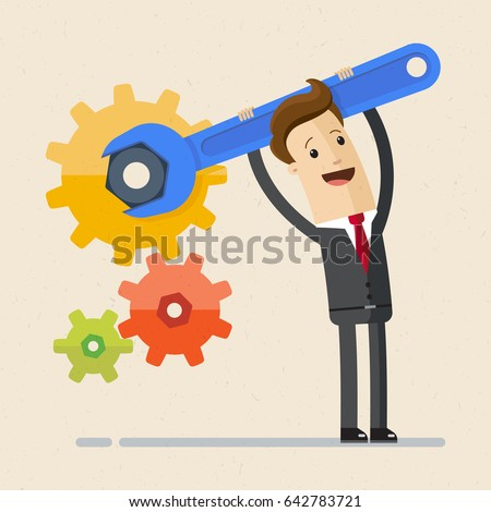 Businessman with spanner in hand. Man in suit, manager adjusts some mechanism. Support and service concept. Vector, illustration, flat.