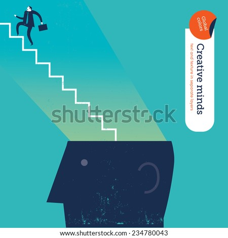 businessman with stairs from