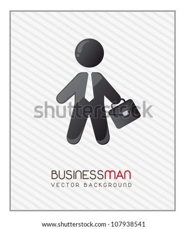 businessman with suit case over stripes background. vector