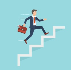 Businessman with suitcase climbing the stairs of success. Flat style vector illustration.