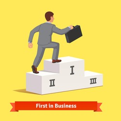 Businessman with suitcase making a step to fist place on podium. Climbing to business success concept. Flat style vector illustration.