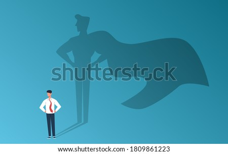 Businessman with superhero shadow. Leadership professional ambition, achievement and business success, strong man with inner leader potential, career motivation creative vector flat cartoon concept Stockfoto ©