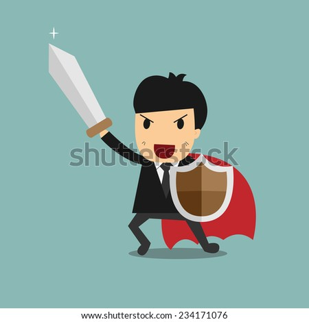 businessman with sword and