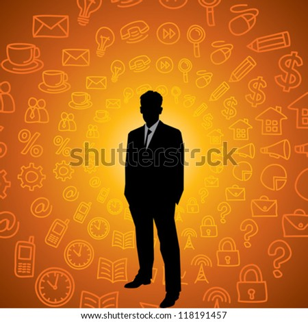 businessman with symbols