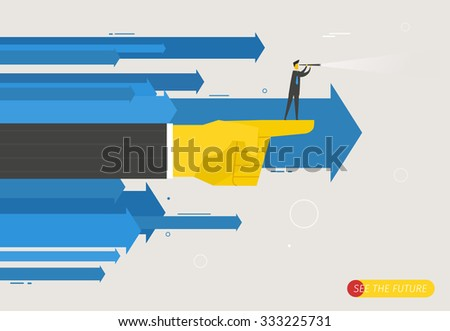 Businessman with telescope looking to the future. Finger pointing direction. Vector illustration Eps10 file. Success, growth rates