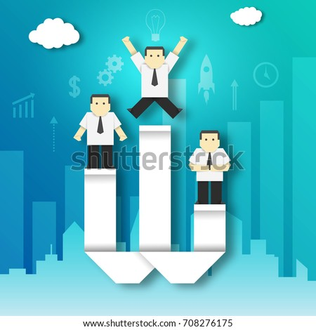 Businessman Won the Competition on the Winner Podium Paper Origami Crafted Business Concept. Cutout Template with Elements and Symbols, Icons for Banner, Card, Poster. Vector Illustrations Art Design.