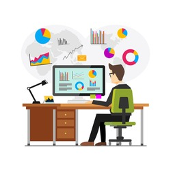 Businessman working and analyzing financial statistics. Data analysis concept.. Business intelligence technology. Business analysis concept for web banner, web element, or infographics
