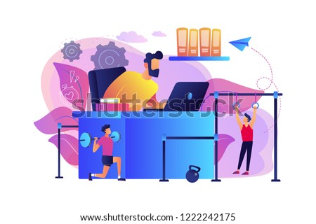 Businessman working and exercising in fitness-friendly office. Fitness-focused workspace, health-conscious workspace, modern office concept. Bright vibrant violet vector isolated illustration