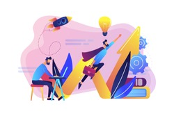 Businessman working and flying like superhero with briefcase. Start up launch, start up venture and entrepreneurship concept on white background. Bright vibrant violet vector isolated illustration