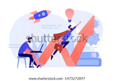 Businessman working and flying like superhero with briefcase. Start up launch, start up venture and entrepreneurship concept on white background. Coral pink palette vector isolated illustration