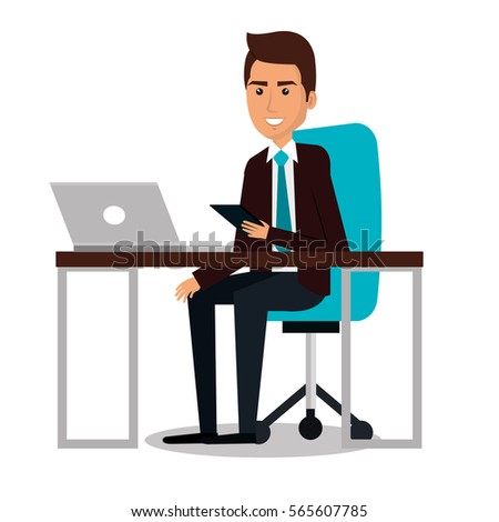 businessman working in computer