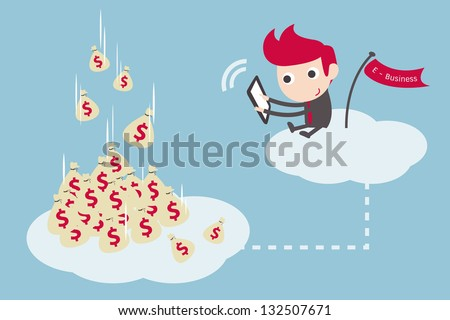businessman working on cloud, vector cartoon.