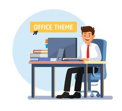 Businessman working on computer. Man sitting on blue chair. Vector