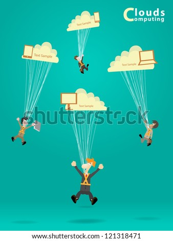 Businessman works with cloud computer concept ideas, vector illustration design
