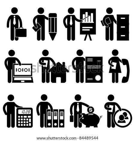 Businessman Writer Analyst Bookkeeper Programmer Real Estate Agent Lawyer Secretary Accountant Banker Manager Job Occupation Sign Pictogram Symbol Icon