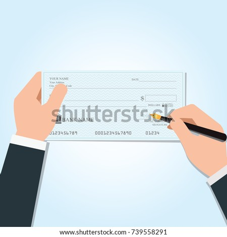 Shutterstock Businessman writing a payment bank checks or che-que book on colored on desk, vector illustration.