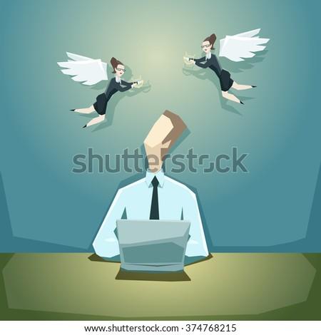 businessman writing business