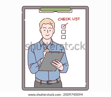 Businessman writing to do list of goals writing in diary. Businessman working on project strategy plan writing target tasks creative ideas. Hand drawn in thin line style, vector illustrations.