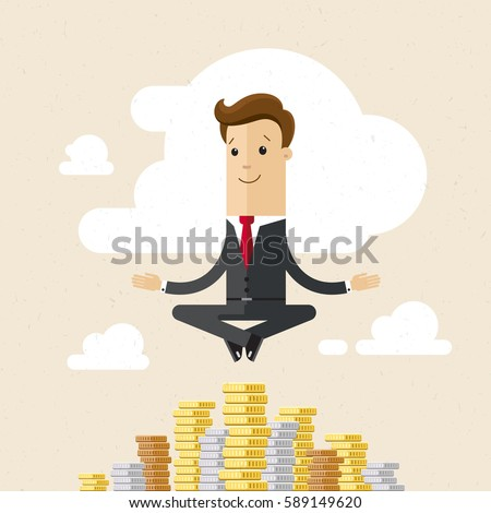 Shutterstock Businessman, yoga and money. Businessmen hung in the air, meditating on cash. Yogi manager. Businessman sitting in lotus position and meditating on stacks of coins. Vector, illustration, flat