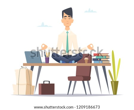 Businessman yoga meditation. Office relax in stressed work busy man sitting in lotus yoga practice at workspace vector concept. Illustration of businessman yoga meditation, calm and meditating