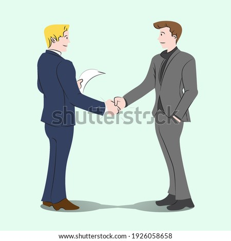 Businessmans handshake together, business dealt, co-partnership simply flat vector illustration on mint background for clean contents and articles.