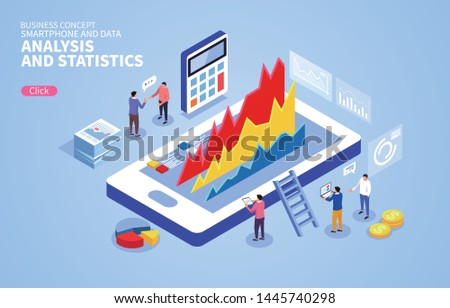 Businessmen analyze and discuss charts on mobile phones