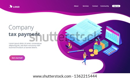 Businessmen and accountant filling and calculating financial document form. Tax form, income tax return, company tax payment concept. Isometric 3D website app landing web page template