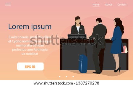 Businessmen and businesswomen are checking in at the lobby hotel counters with receptionist; Landing page template for business travel