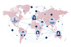 Businessmen and businesswomen avatars. Global business connection or communication between people. Business teamwork concept. Map on background. Trendy style vector illustration