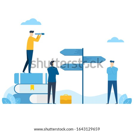 Businessmen are deciding the best route,Choices and decision choice way concept,alternative signage, learning to make your own decisions,flat blue tone vector illustration design