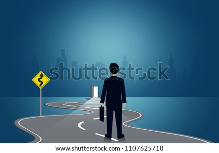 Businessmen are walking on a winding road. to the destination. go to target growth. on background blackboard.  leadership. challenge. creative idea. business success concept. vector illustration